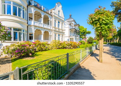Beautiful old historic villa houses on coastal street in Binz summer resort town, Ruegen island, Germany