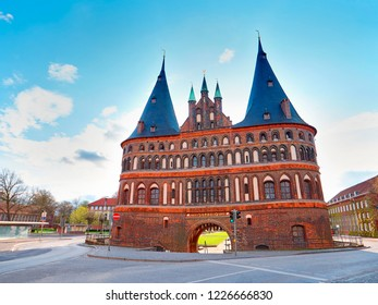 Beautiful old Historical Holstentor City Gate. View at sunny day. Lubeck. Germany