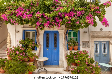 Beautiful old house with greenery, in Tinos, Greece