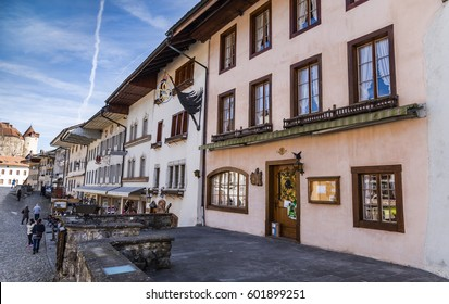 Beautiful old houses in Gruyere village, Switzerland, architecture detail