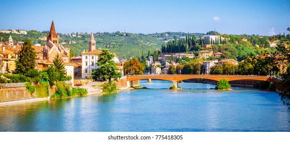Beautiful old houses and Teatro Romano on Adige river in Verona, Veneto region, Italy.