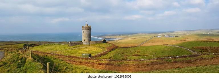 beautiful old Irish castle in doolin county clare Ireland. beautiful scenic Irish nature countryside along the wild Atlantic way.