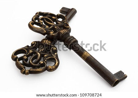 Beautiful old keys with floral ornament.