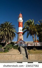 Beautiful old lighthouse and colonial architecture in Swakopmund, west coast of Namibia, Africa