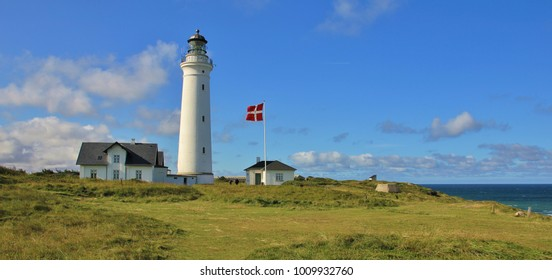 Beautiful old lighthouse in Hirtshals, Denmark.