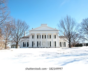 beautiful old manor house in the wintertime