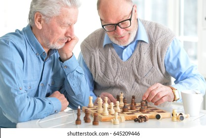 Beautiful old men play chess