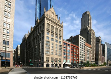 Beautiful old and new city buildings at the corner of Michigan Avenue and East Monroe in beautiful downtown Chicago, Illinois, USA.