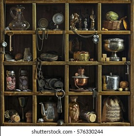 Beautiful old objects on wooden shelf.