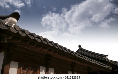 Beautiful old palace with sky in Korea