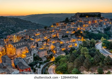 The beautiful old part of Ragusa in Sicily, Italy, before sunrise
