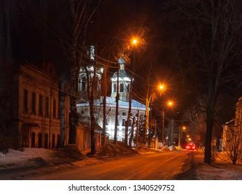 Beautiful old russian church. Night winter picture