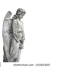 beautiful old stone statue of sad angel. stone memorial grieving angel statue on white background. condolence, mourning cards or obituary. Religion, faith, death, resurrection, eternity concept.