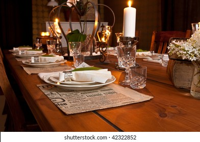 beautiful old style table setting