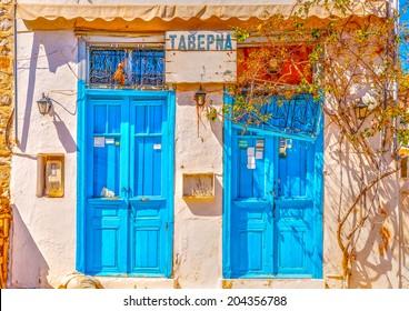 beautiful old taverna at Hydra island in Saronic gulf in Greece. HDR processed