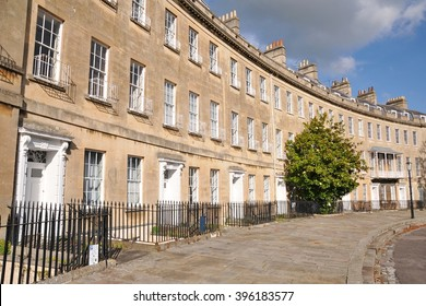 Beautiful Old Terraced Stone Town Houses in the City of Bath in Somerset England