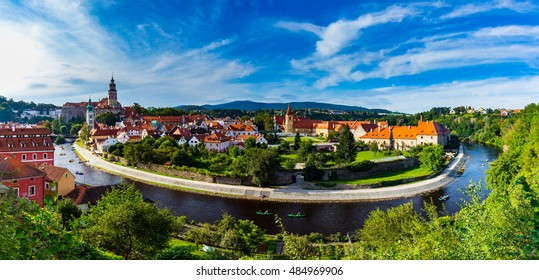 Beautiful old town at Cesky Krumlov, Czech Republic. UNESCO World Heritage Site.