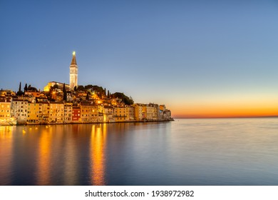 The beautiful old town of Rovinj in Istria, Crotia, after sunset