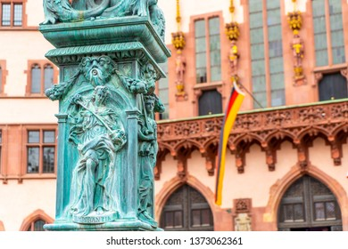 beautiful old town square romerberg with Justitia statue in Frankfurt Germany
