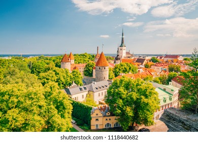 Beautiful old town of Tallinn in Estonia with small houses main church and Raekoja plats