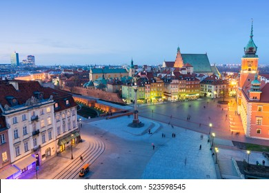 beautiful Old Town in Warsaw at dusk, Poland