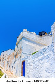Beautiful old traditional  colored house in Fira the capital of Santorini island in Greece