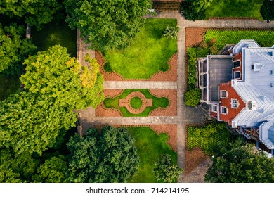 Beautiful old villa garden from above, green garden
