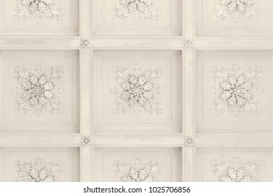 Beautiful old wall with floral bas-reliefs, background, texture