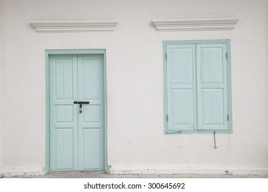 Beautiful old window and door on color wall  thai style