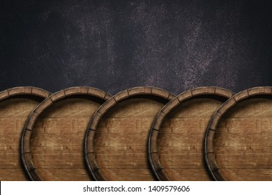 Beautiful old wooden  barrels on a creative background.