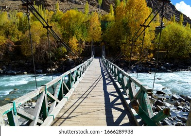 Beautiful Old Wooden Bridge On the River, Amazing trees, Kargil Valley, Leh Ladakh, J&K India.