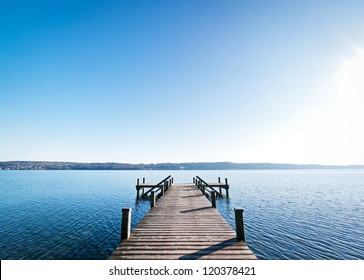beautiful old wooden jetty - nice background with copy space