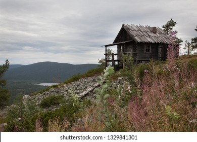Beautiful old wooden Santa Claus cottage on the top of Levitunturi fell on autumn. This cabin is near of hiking trails and it is very popular place for tourist to take photos in all seasons