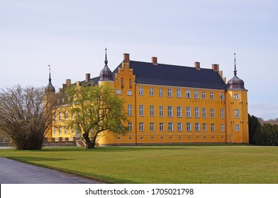 Beautiful old yellow estate or castle on Lolland, Denmark