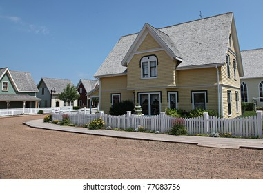 Beautiful old yellow house in summer
