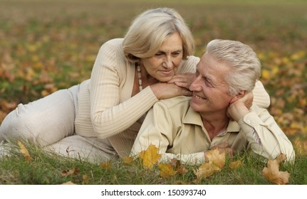 Beautiful older couple resting on a grass