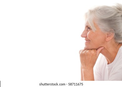 beautiful older woman on a white background