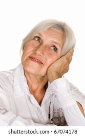 beautiful older woman on a white