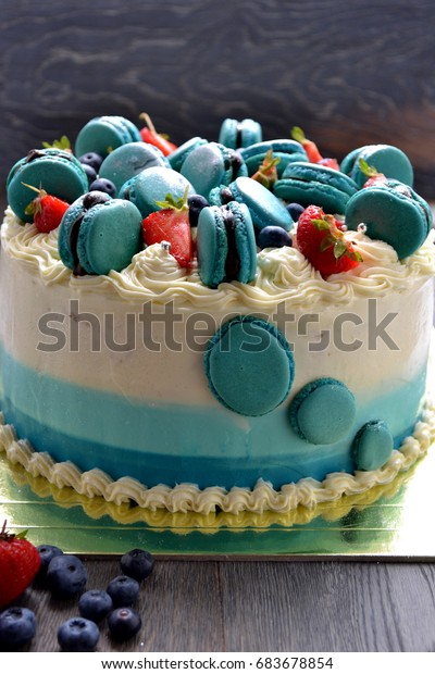Super Beautiful Ombre Cake Birthday Cake French Stock Photo Edit Now Funny Birthday Cards Online Overcheapnameinfo