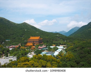 Beautiful  on top view of Po Lin Temple in Nong Ping village,Hongkong