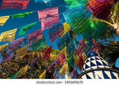 Beautiful open air garden terrace in Mexican town, Todos Santos