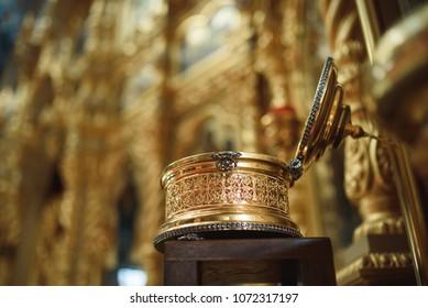 beautiful opened golden box at church