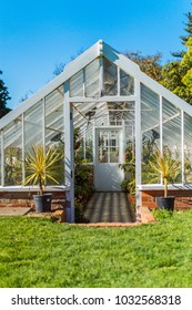 Beautiful opulent garden glasshouse or conservatory full of lush greenery of plants and flowers with warm uplifting natural light, black and white tiled flooring