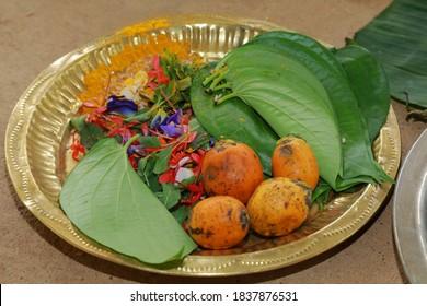 Beautiful orange areca nut fruit bunches in kerala wedding
