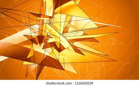 Beautiful orange illustration with triangles.