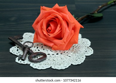 A beautiful orange rose resting on an antique doily, next to vintage keys.  Macro.
