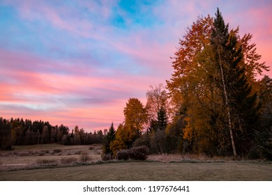 Beautiful orange-colored morning landscape in Finland.