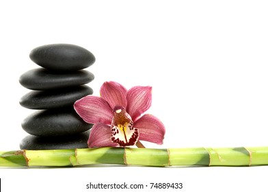 Beautiful orchid flower and balanced stones and lucky bamboo stick