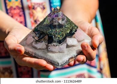 Beautiful Orgonite Pyramid Generator  in Hands
