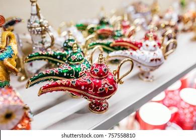 Beautiful oriental genie or aladdin lamp as a souvenir